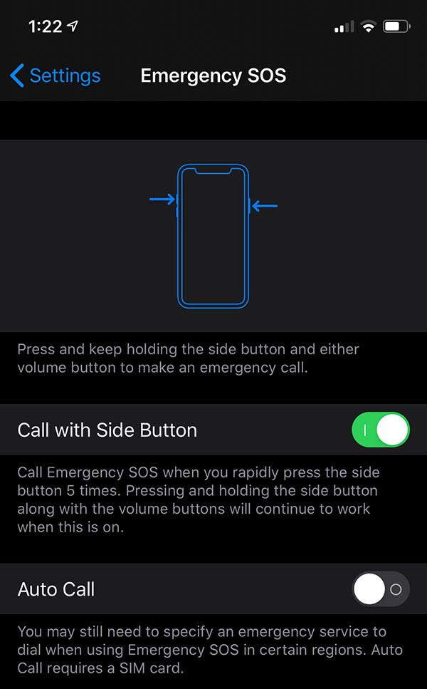 Emergency SOS settings on the iPhone. Call with Side Button is On. Auto-Call is Off.