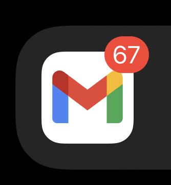 The Gmail app icon with a badge reading 67