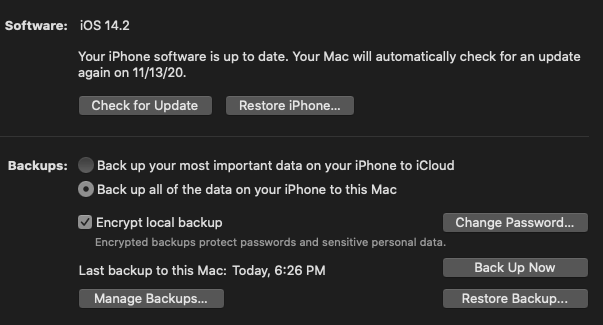 "Screenshot of the iPhone management screen on a Mac. ""Back up all of the data on your iPhone to this Mac"" is checked. ""Encrypt local backup"" is checked."