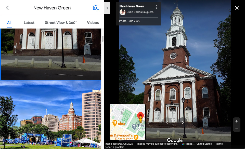 Screenshot of a Google Maps search result for the New Haven Green, showing photos taken by Google users.