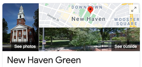 A screenshot of Google search infobox for the New Haven Green, including the same photo of a church in the earlier screenshot.