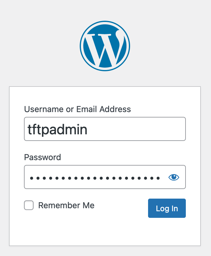 The WordPress login screen. The name is tftpadmin. The password field is filled in.
