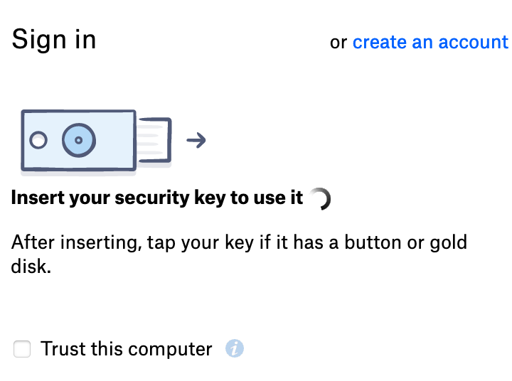 Screenshot: Sign in. Insert your security key to use it. After inserting, tap your key if it has a button or gold disk.